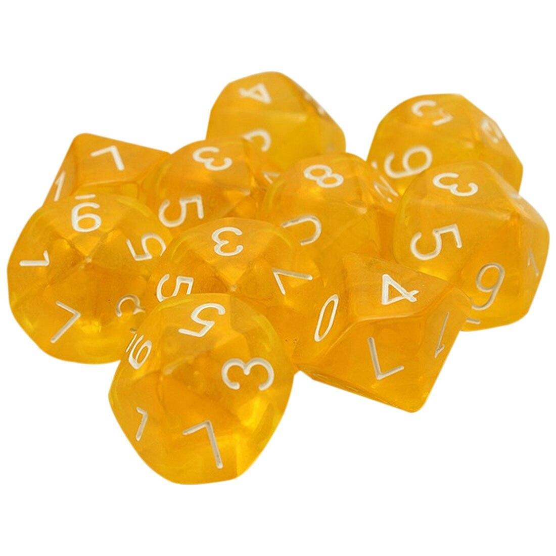 [해외]10-dices d10 10 양면 보석 주사위 rpg 던전 & 드래곤즈 보드 테이블 게임 투명 옐로우/10-dices d10 10 양면 보석 주사위 rpg 던전 & 드래곤즈 보드 테이블 게임 투명 옐로우