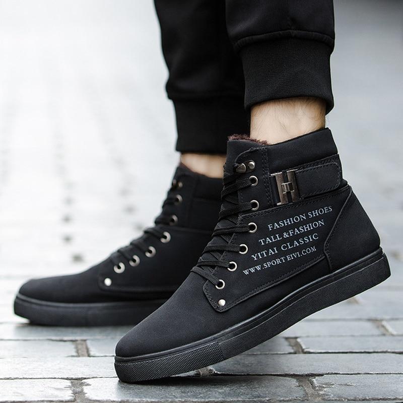 [해외]Men Skateboarding Shoes High Top Men Casual Sneakers Comfortable Sports Shoes Winter Fur Sneakers Warm Shoes Tenis Masculino/Men Skatebo