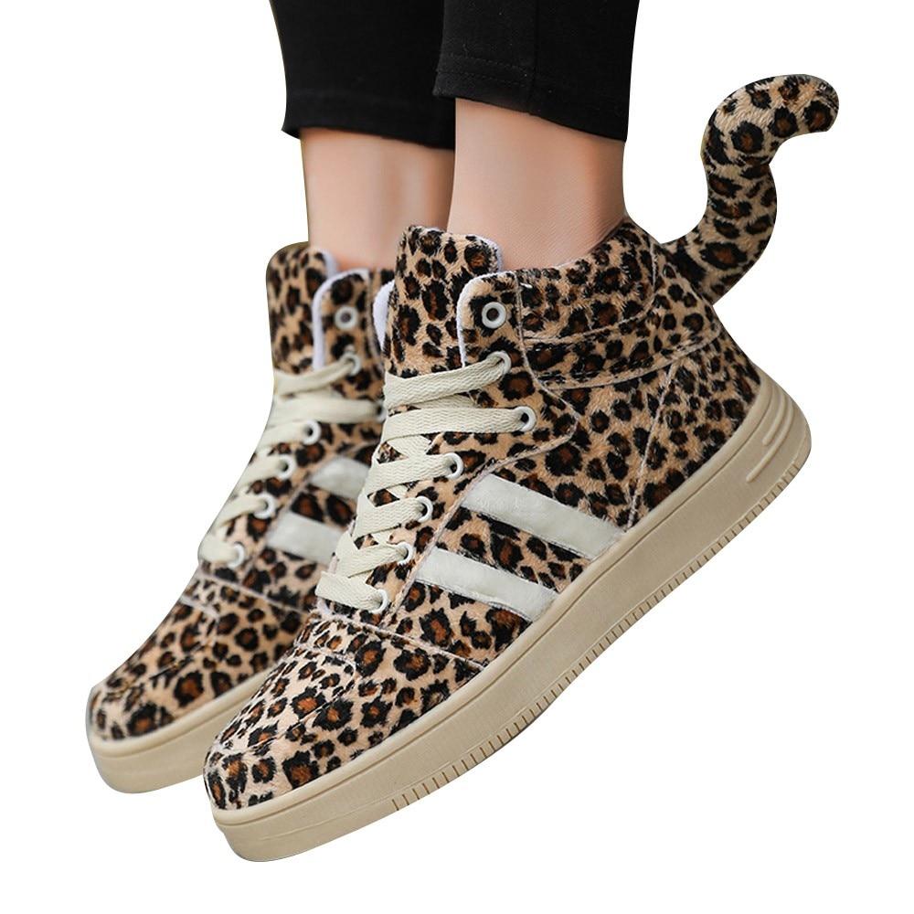[해외]Chamsgend 새로운 여성 레오파드 테일 하이 탑 캐주얼 신발 여성 학생 두꺼운 층 신발 편안한 야생 브랜드 디자인 신발/Chamsgend 새로운 여성 레오파드 테일 하이 탑 캐주얼 신발 여성 학생 두꺼운 층 신발 편안한 야생 브랜드 디자인