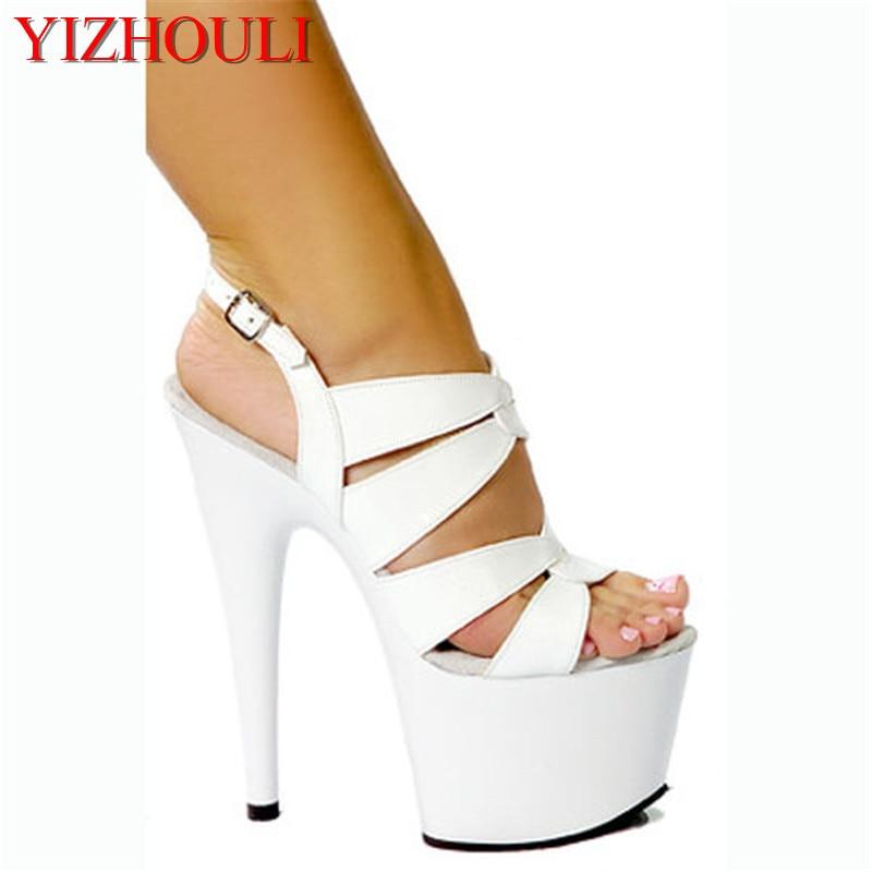 [해외]Black / White 15CM Sexy High Heel Shoes Slippers, Pole Dance Shoes, High Heel Wedding Dance Shoes/Black / White 15CM Sexy High Heel Shoe