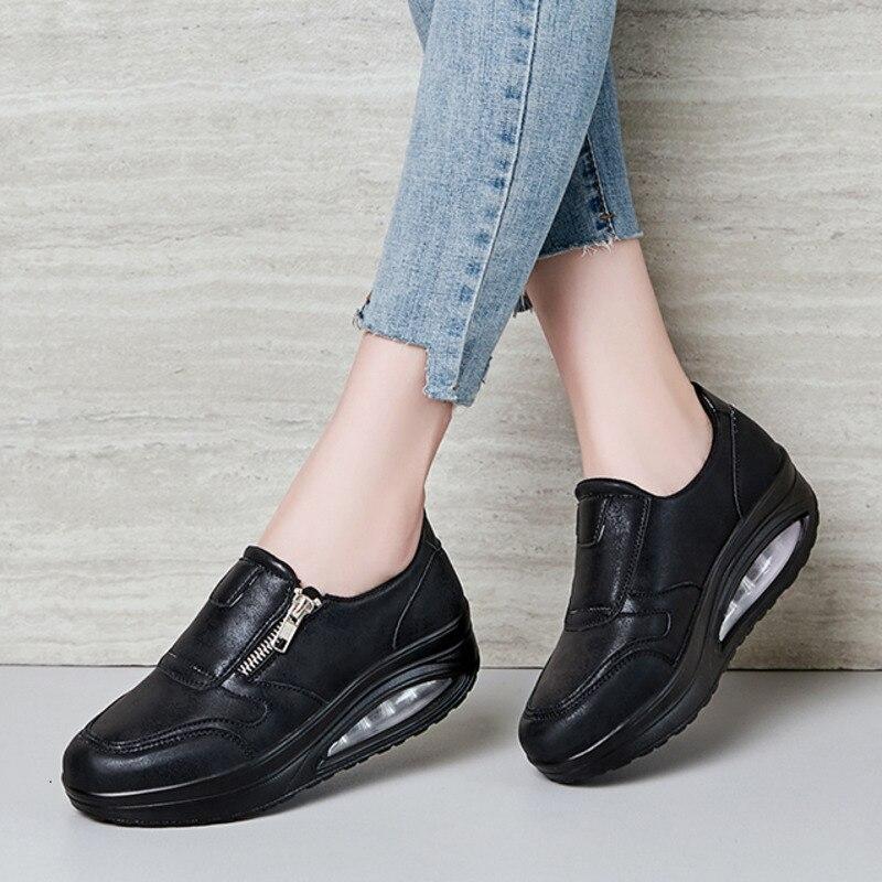[해외]방수 웨지 스 니 커 즈 여성 에어 쿠션 흔들 신발 두꺼운 단독 슬리밍 신발 증가 피트 니스 신발 점프 신발에 미끄러 져/방수 웨지 스 니 커 즈 여성 에어 쿠션 흔들 신발 두꺼운 단독 슬리밍 신발 증가 피트 니스 신발 점프 신발에 미끄러 져