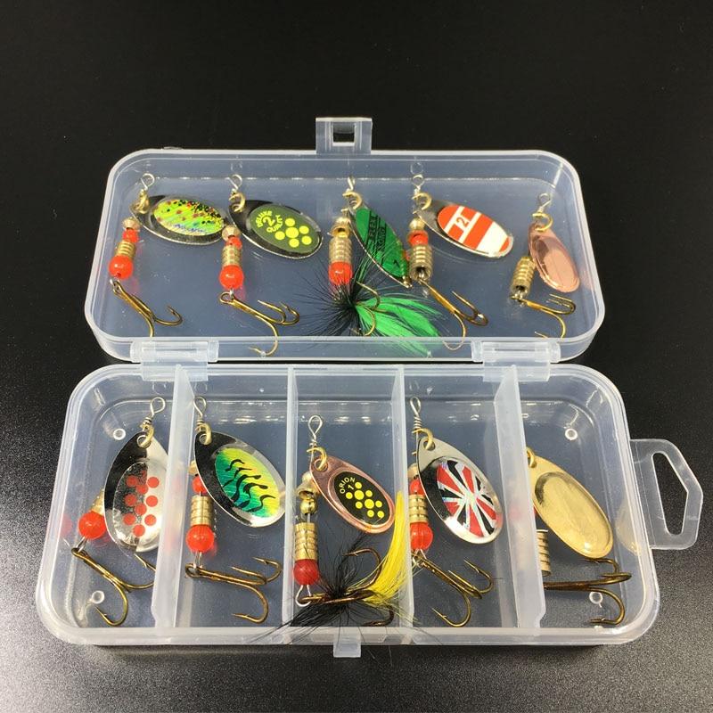 [해외]10Pcs Fishing Lures Spoon Bait Set Metal Lure Kit Sequins DD Fishing LuresBox Treble Hooks Fishing Tackle hard Bait/10Pcs Fishing Lures