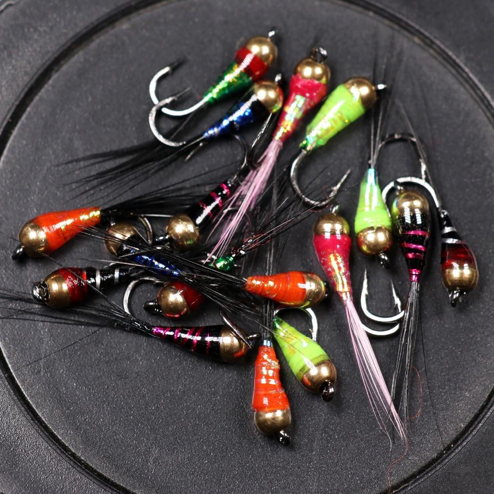 [해외]6PCS 14 Trout Bluegill Fishing lures Brass Bead Head Epoxy Nymph Fly Fast Sinking Fishing Hook/6PCS 14 Trout Bluegill Fishing lures Bras