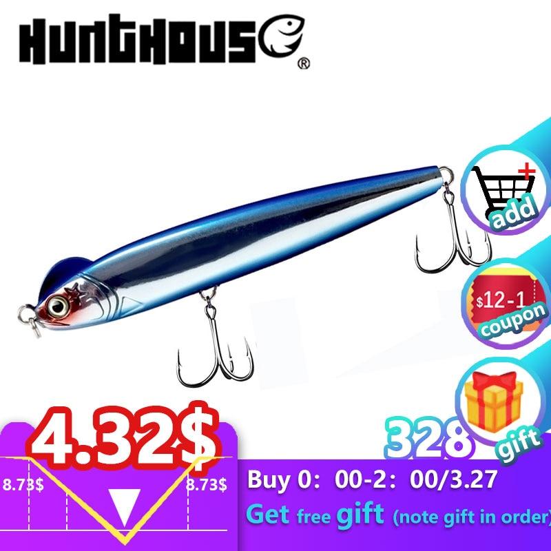 [해외]hunthouse slow sinking pencil fishing lure blue stickbait depth 0.2-0.8m S-shaped 130mm 26g seawater seabass hard bait lures/hunthouse s