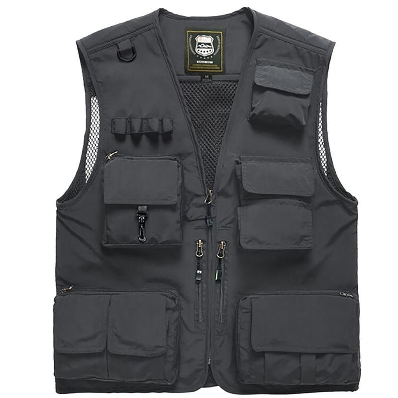 [해외]Summer Autumn Men Multifunction Quick Dry Fishing Vest Mesh Loose Jacket Outdoor Multipockets Photography Fisherman Waist Coat/Summer Autumn Men M