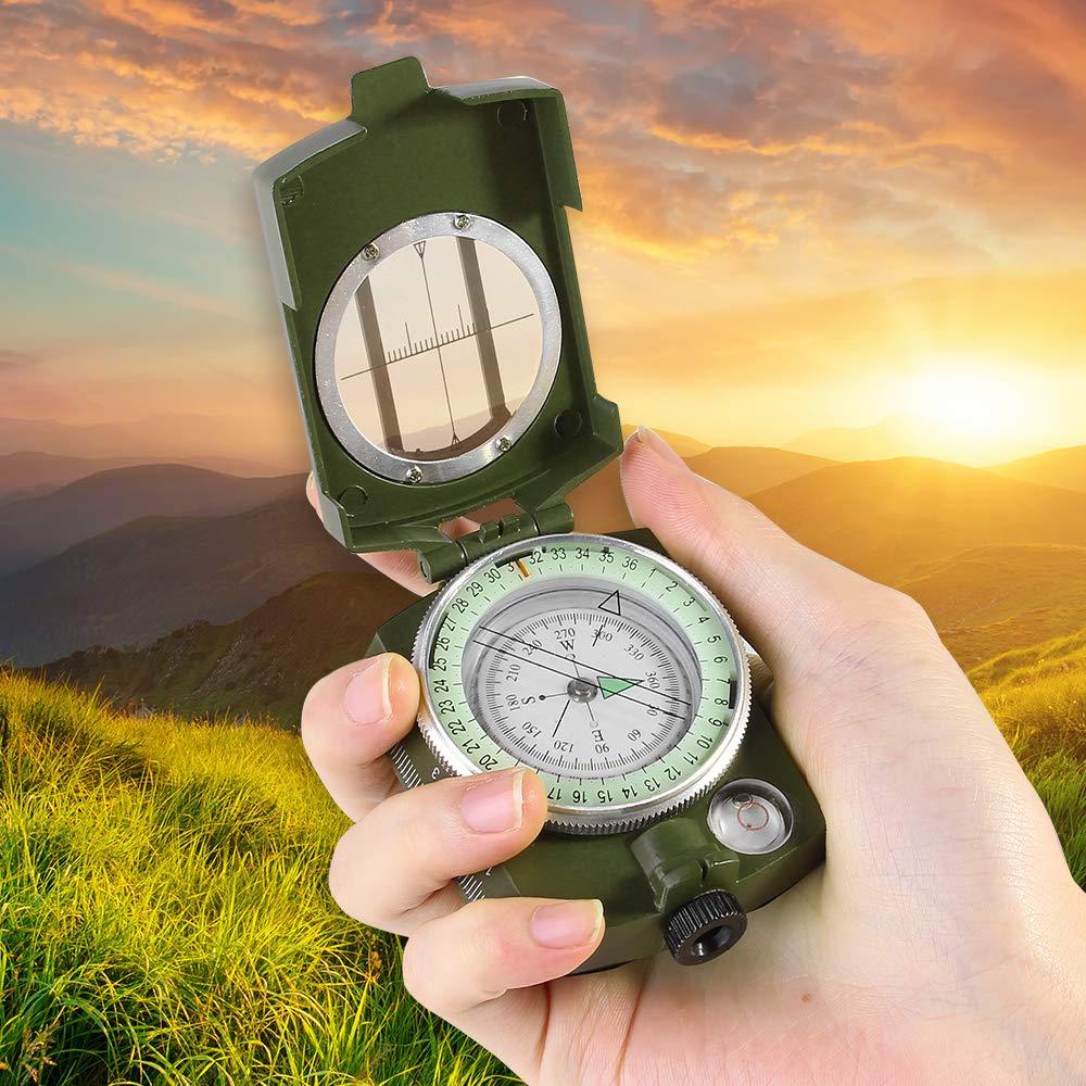 [해외]Portable Compass Army Green Folding Lens Military Multifunction Boat Dashboard Camping Hiking Pocket Compass Outdoor Tools/Portable Compass Army G