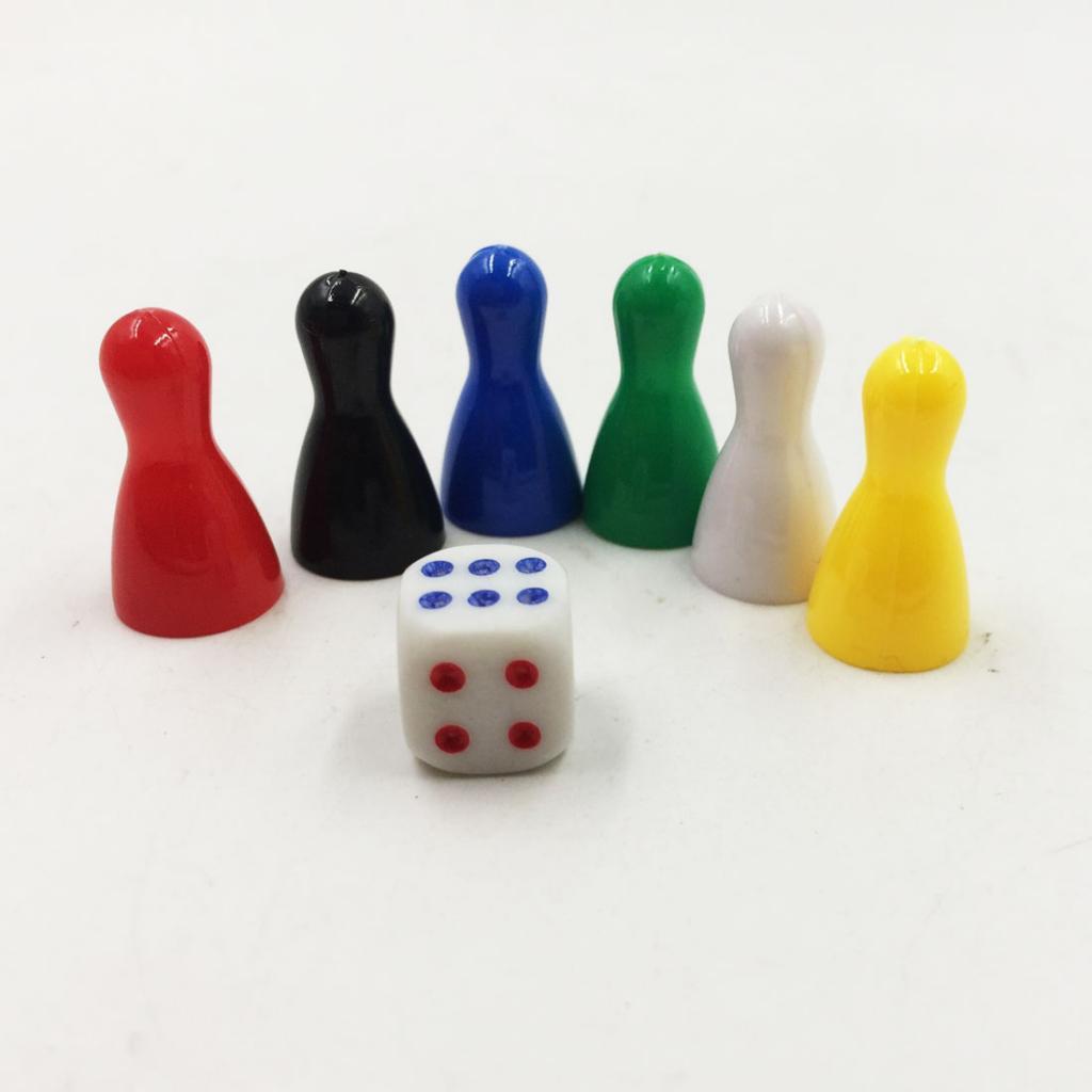 [해외]6Pcs 2.5x1.3cm Colorful Plastic Pieces Game Chessman Pieces Pawn Chess Dice Set for Board Card Games/6Pcs 2.5x1.3cm Colorful Plastic Pieces Game C